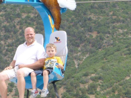 Glenwood Caverns Adventure Park : My son and I riding the Soaring Eagle.  They drastically improved this ride!