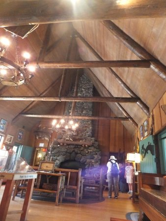 Tallac Historic Site: The high ceiling and chandeliars