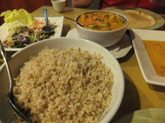 Orchids Authentic Thai Food: Our meal of brown rice, brinjal salad, beef & pumpkin curry
