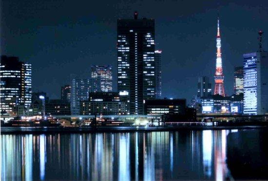 Harumi Wharf: 竹芝方面の夜景 東京タワーも見える