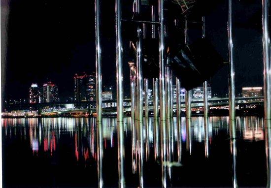 Harumi Wharf: オブジェの水面に夜景が映る