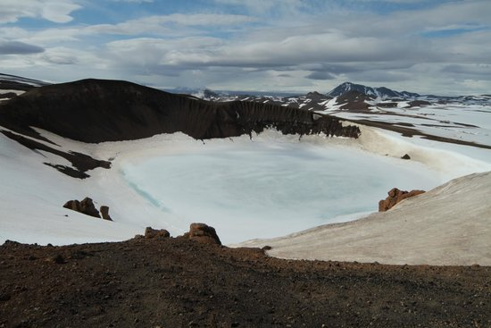 Krafla Lava Fields: Crater in ice
