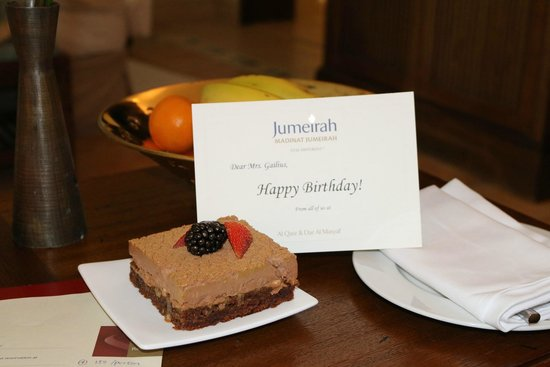 Jumeirah Dar Al Masyaf at Madinat Jumeirah : Surprise birthday cake lovely.