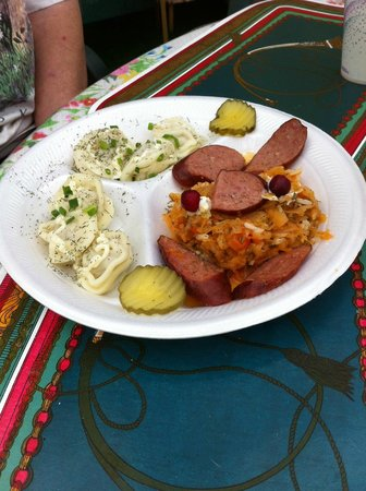 Samovar Cafe: The Combo (dumplings, sour kraut, reindeer sausage) very tasty