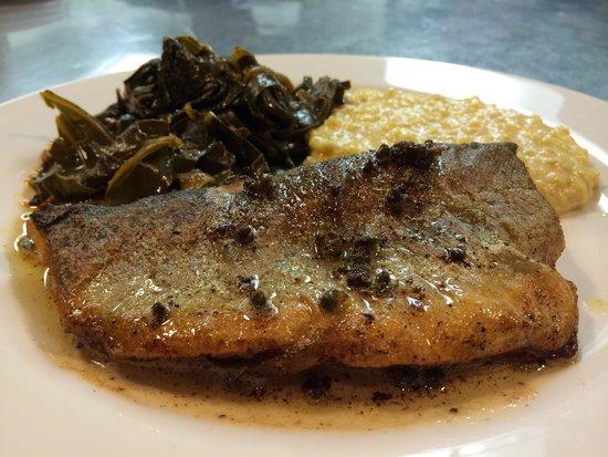 Maya Restaurant: Local trout!! Collard greens & grits!