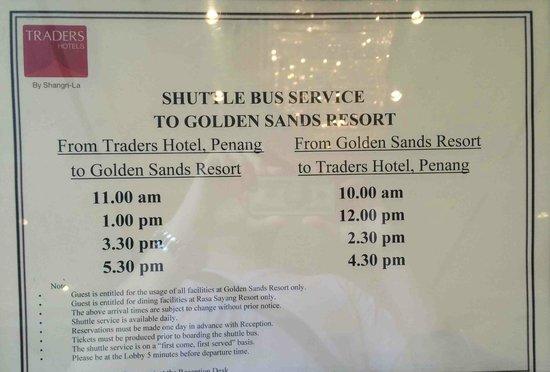 Hotel Jen Penang by Shangri-La: feeder buses to Feringgi
