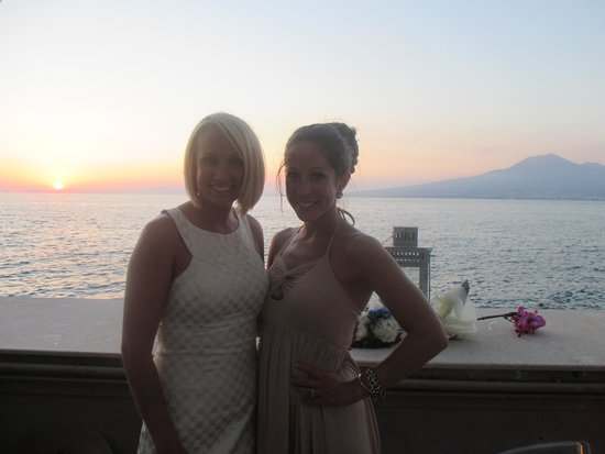 Towers Hotel Stabiae Sorrento Coast : some of the bridesmaids catching the sunset view