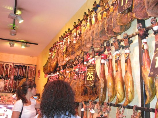 Barcelona Culinary Backstreets Walks: You will try some jambon (white and black pigs)