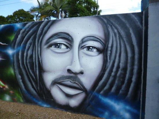 Murwillumbah YHA - Riverside Backpackers: Levee wall graffiti