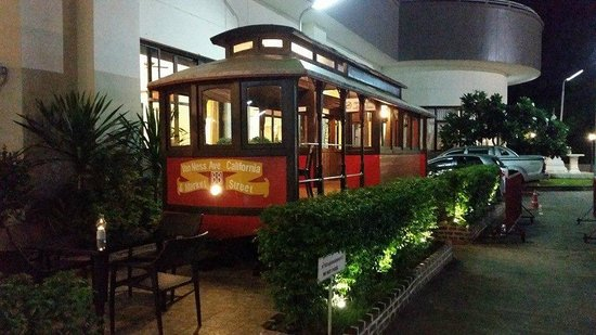 Loei Palace Hotel : Train Seating in front of hotel