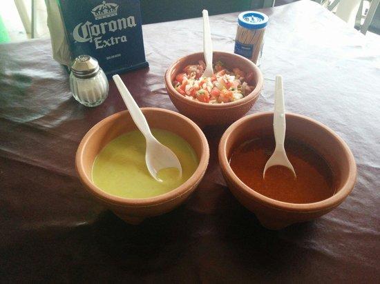 Taqueria El Fogon: Great array of sauces.