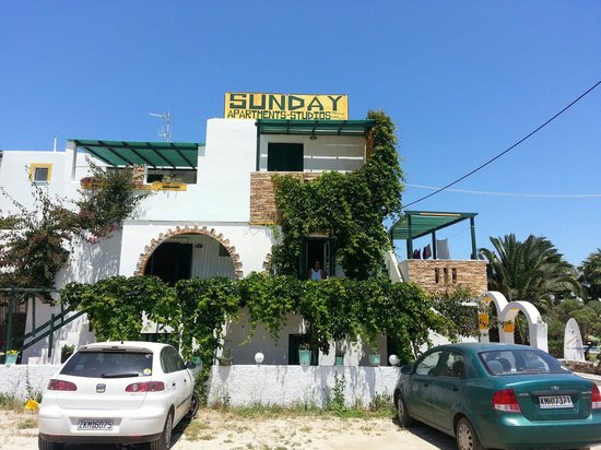 Sunday Studios: 50 meters from the beach, bus stop, supermarket and great taverna.