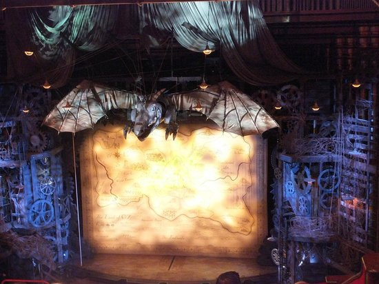 Wicked the Musical: The stage, waiting for the show to begin.