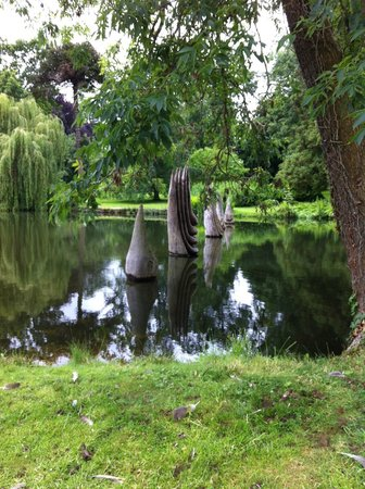 Burghley House: Lake sculptures almost floating