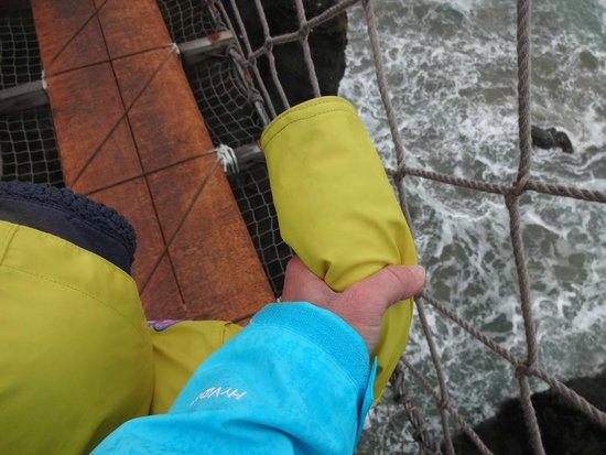 Carrick-A-Rede Rope Bridge: Holding on for dear life
