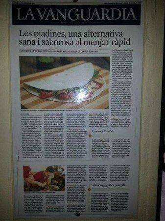 La Piadina : Articulo en prensa recomendando nuestras piadinas!