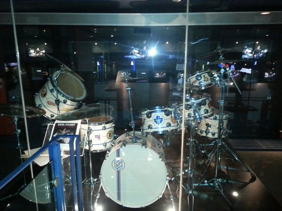 Hockey Hall of Fame: Neil Pearr drum kit in media section