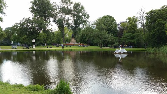 Vondelpark: Lake with a giant swan sculpture