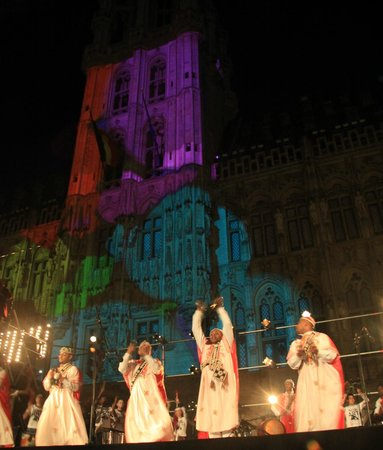 festival lights in the Grand Place