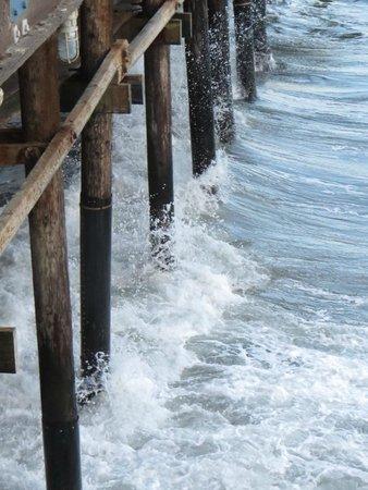 Santa Monica State Beach: The waves crash against the pier