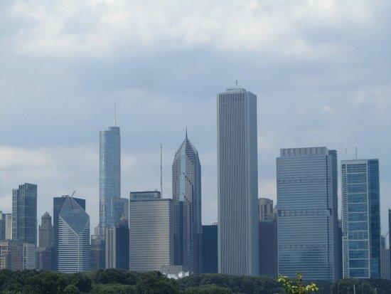 Lo skyline di Chicago dalla terrazza dello Shedd Aquarium