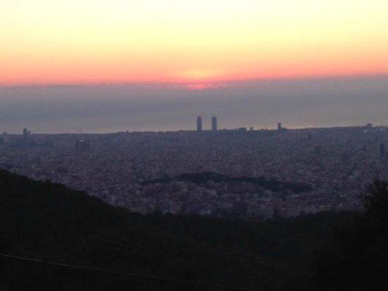 Sunrise over Barcelona from Tibidabo