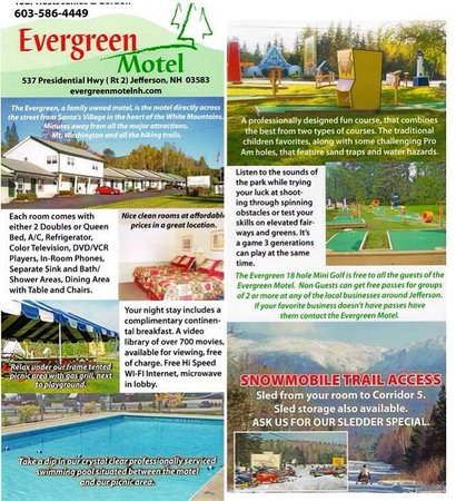 Evergreen Motel: Their brochure front and back