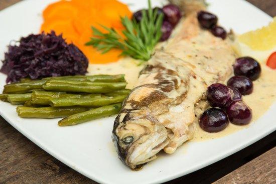 Swiss Bistro Banos: Trucha en salsa cremosa de uvas