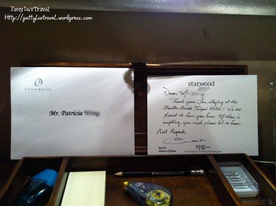 Sheraton Grande Taipei Hotel: welcome card