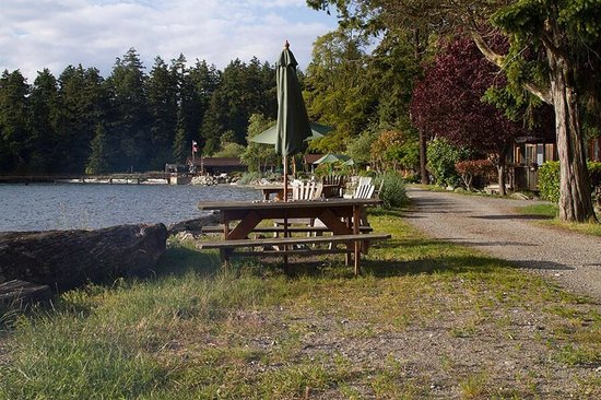 West Beach Resort: Each cabin gets a picnic table and fire pit. There is a general store and they will deliver to y