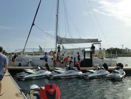 Allura Catamaran: Approaching the Allura.