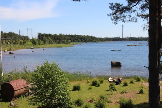 Hotel Santalahti : View of the bay including the wood burning sauna on the left