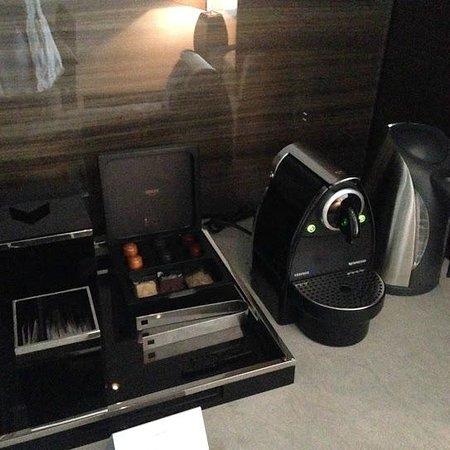 Armani Hotel Dubai: Coffee maker, tea kettle, and assortment of coffees and teas.