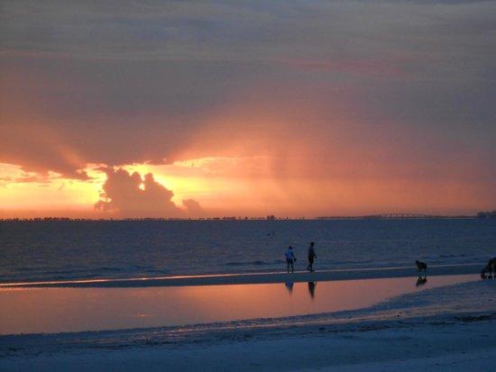 Pointe Estero Resort : Sunset on the beach behind Pointe Estero.