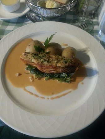 Crab & Lobster: Loin of Wester Ross Salmon, Fresh Crab Crust, Charlotte Potatoes, Wilted Greens & Prawn Bisque
