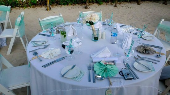 El Dorado Royale, by Karisma: The dinner table setups during our wedding reception on the beach-- we did most of it ourselves