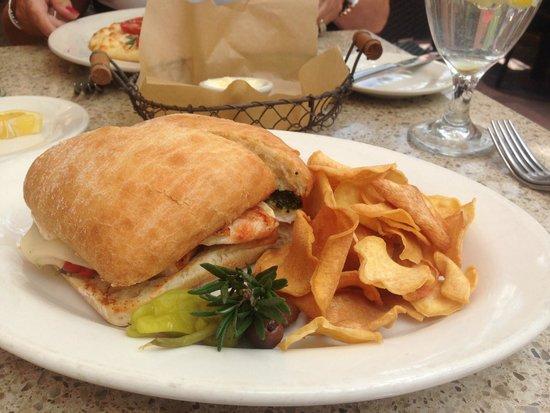 Cafe Terigo: Chicken Pesto Sandwich with fresh mozzarella and sweet potato chips