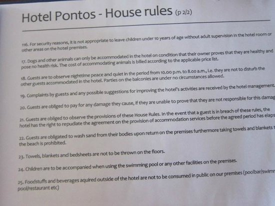 Hotel Pontos: page from rule book