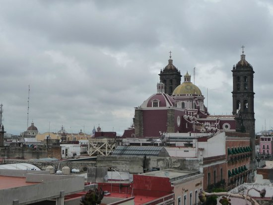 Hotel Colonial de Puebla: view of Puebla cathedral from the rooftop terrace