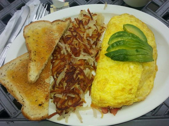Night & Day Cafe: California omelette, hash browns and rye toast. Delicious.