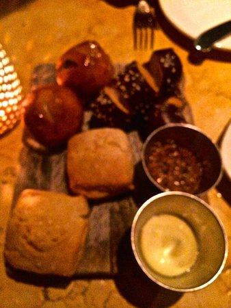 Birch and Barley: The Bread Board - Biscuit (brioche), Kalamata Olive Bread and Pretzel