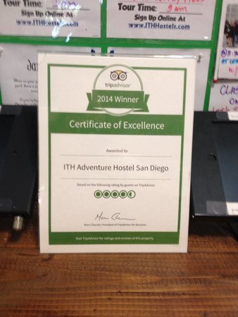 ITH Adventure Hostel San Diego: This is the Trip Advisor Award- I posted the Lyft photo instead; speaking of Lyft- check it out-