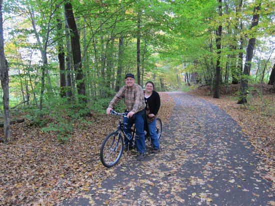 """Stowe Recreation Path: Us on a """"Bicycle-built-for-two"""" on the Stowe Rec Path"""