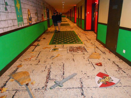 Legoland Malaysia Resort: Wide, colourful corridor outside our room