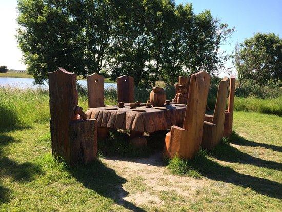 RSPB Saltholme: Alice  in wonderland carvings
