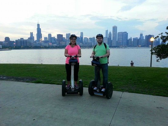 Karen and Travis Rosenthal-Segways at Sunset Tour, Bike and Roll Chicago