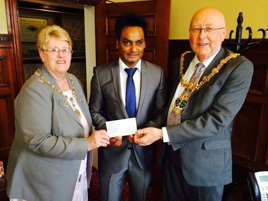 CAFE NAAZ: At rotherham town hall with mayor& mayoress.