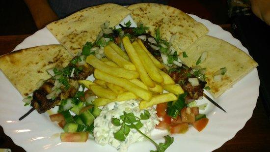 carina sports bar rest.: pork souvlaki with chips and tzatziki