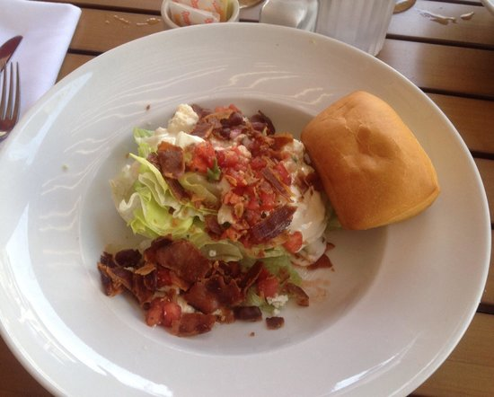 Tisha's: Iceberg lettuce wedge - real blue cheese and big bacon pieces