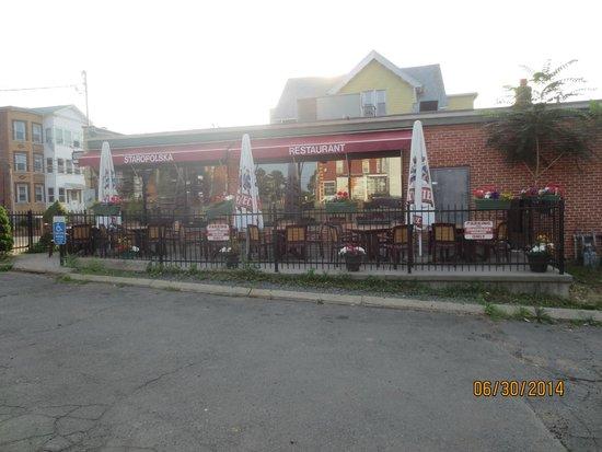Staropolska Restaurant: view of patio from parking lot